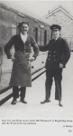 Jack Cox and Road motor driver Bill Wonnacott at Kingsbridge alongside the 'B' set in the bay platform