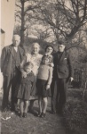 Grampy Tabb and family. John, Vie, Barbara and Tony. Lady unidentified. at Rickham Farm.